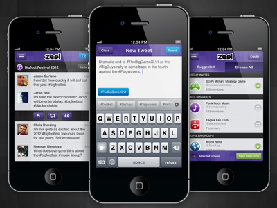 Zeel iPhone Interface iphone app twitter tweet ui interface mobile design purple
