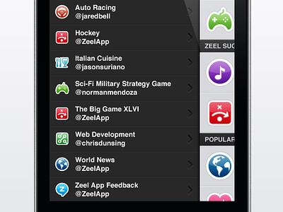 Zeel iPhone Interface - Menu Design twitter app design interface iphone mobile purple tweet ui menu