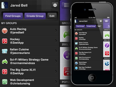 Zeel iPhone Interface - Menu Design twitter app design interface iphone mobile purple tweet ui menu