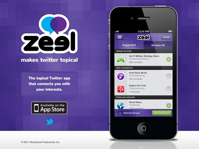 Zeel Landing Page twitter app design interface iphone mobile purple tweet ui website