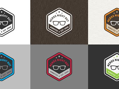 Nerds Night Out Logo logo logo design retro badge nerd glasses crest branding twitter