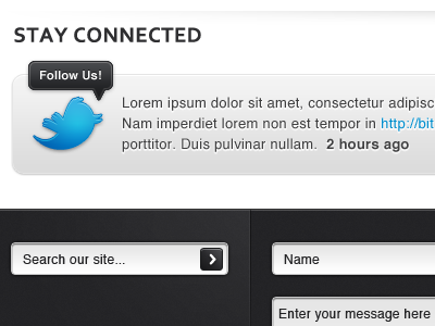 New Functional Footer twitter search forms website shading clean social footer