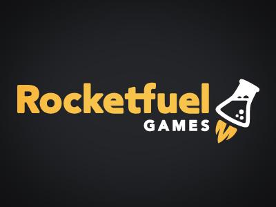 Rocketfuel Games Branding branding logo beaker games yellow