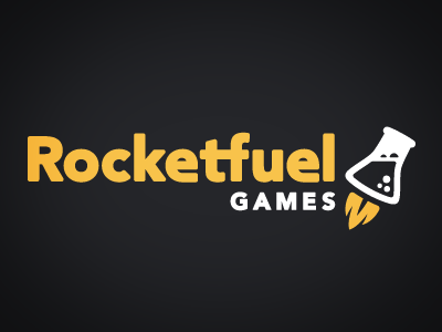 Rocketfuel Games Branding branding logo beaker games yellow