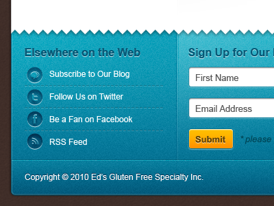 Friendly Social Footer footer form social buttons icons shading noise blue website twitter