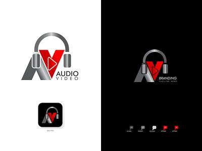 AV | Audio Video Logo brochure design design app icon graphic design minimal illustration branding typography logo