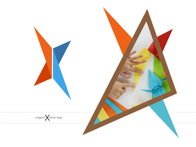 Origami X Letter Logo web ui typography minimal icon graphic design illustration branding flyer design logo