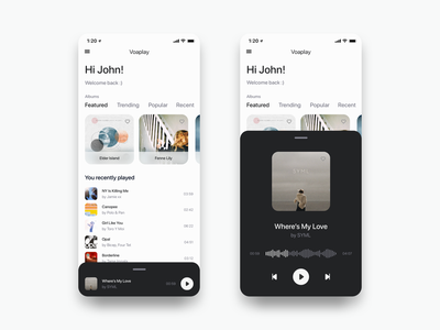 Music Player Test Example ios app design bottommodal modal ios app music player music lists listview listeview list podcast app ios