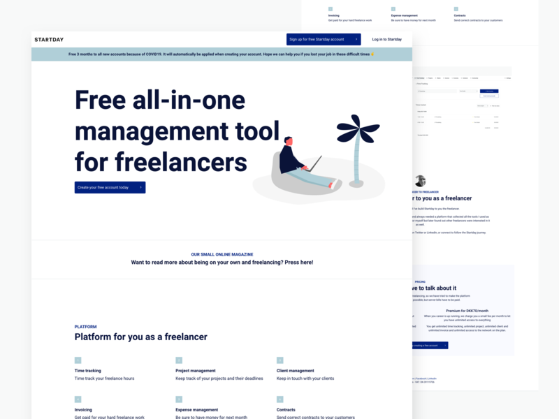 Free all-in-one management tool for freelancers - Startday v2 illustration design landing page homepage web webdesigner website freelance startup branding startups wordpress webdesign landingpage startup weblandingpage