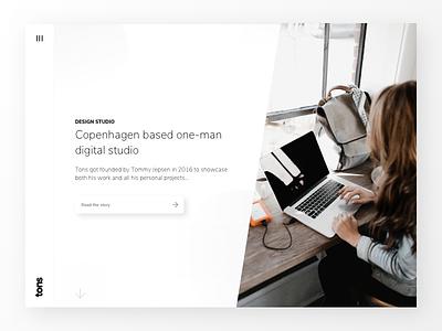 Tons - Digital design studio landingpage ideation frontpage landing page landing page website homepage studio landingpage