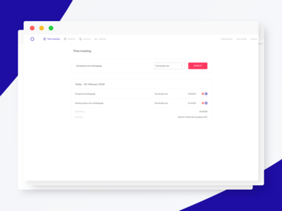 Trackly - Time tracking and invoice for freelancers website track time tracking timetracking timetracker time saas list invoice dashboard backend