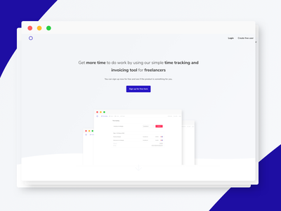 Trackly - Time tracking and invoice for freelancers landingpage landing page page frontpage first page startpage start page firstpage