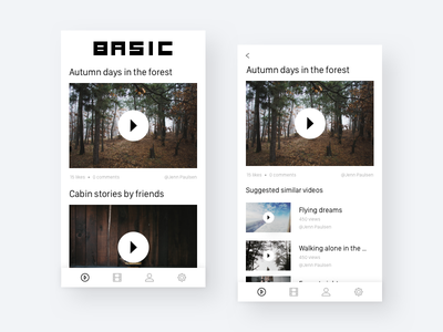 Basic - a video app design pitch pitch mobile app videoplayer player list video copenhagen design app