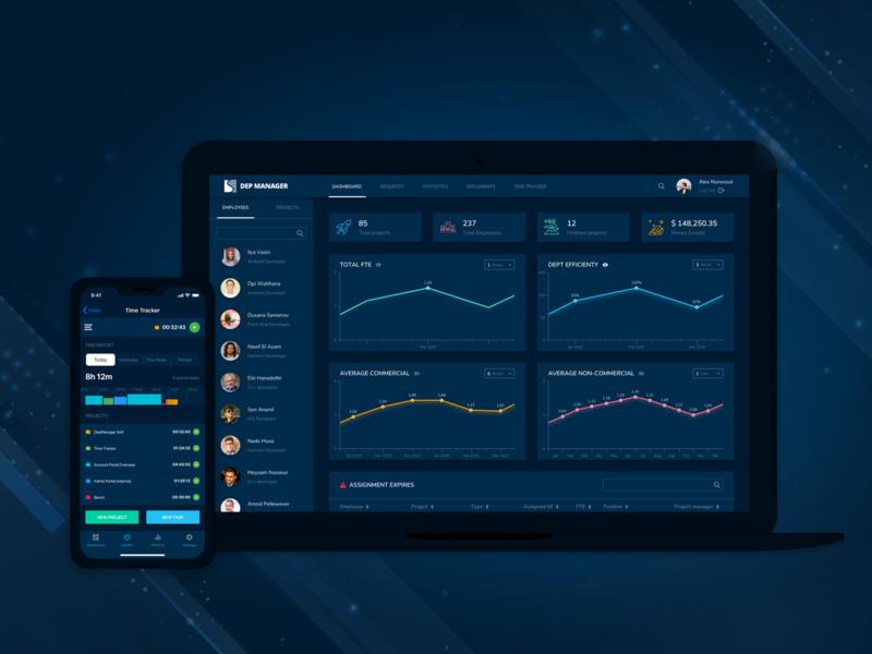 DepManager Portal charts security app dark theme dark mode dark ui ui  ux ux ui uiux design project managment dashboard time management