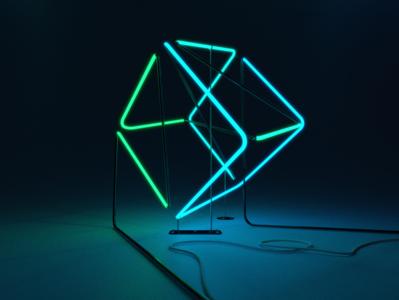 Default Cube® green balance design blue 3d art illustration ambient 3d