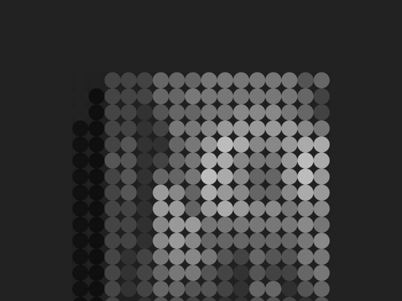 HELLO-JPEG, Mosaic of Circles in Greyscale. composition art design greyscale internet humor joke reference meme mosaic hello