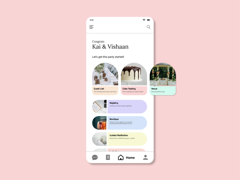 Daily UI 018 - Wedding App love venue cake registry wedding mobile ui mobile app app design app dailyui ux figma ui design interface design ui daily ui challenge daily ui
