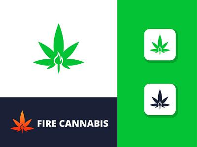 Fire Cannabis Logo Template branding graphic design