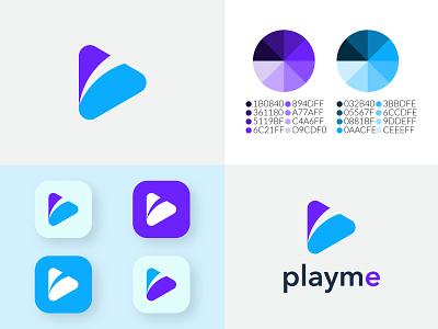 Playme Logo, Media Play Logo, Modern Play Logo video play minimal logo modern logo play logo playme graphic design branding 3d logo play player producer