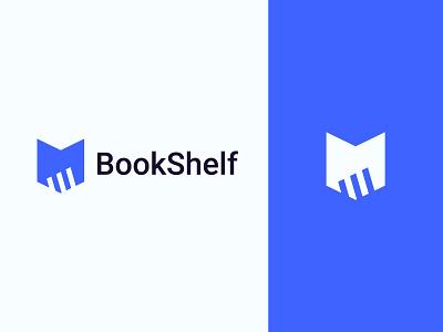 BookShelf flat logo icon books logo design modern logo brand identy bookshelf book logo branding negative space identity graphic design