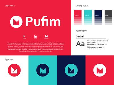 Pufim, brand identity design it company logo graphic design design branding design logodesign typography brand identity branding letter logo minimal logo creative logo modern logo logo
