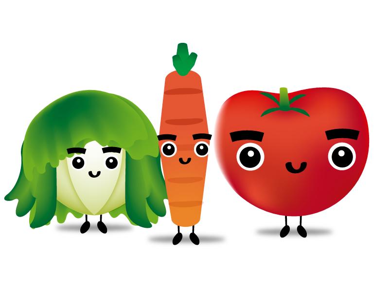 Vegetables Gang green vegetables crew gang tomatoe lettuce carrot food cute