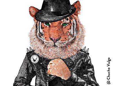 Tiger with Black Jacket. rock tiger black leather jacket hat animals retro vintage cats