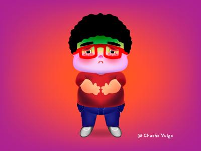 stomachache sick purple orange character eyeglasses red fat stomachache illustrator illustration