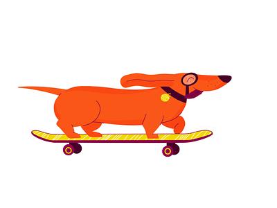 Happy Doggo sausage dog happy art orange motion graphics illustrator motion design dog on skateboard skateboard skating dog branding animation illustration design after effects motion graphics after effects animation after effects adobe