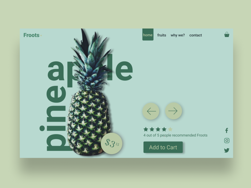 Fruit merchant web page concept fruits pineapple design webdesign ui layout design