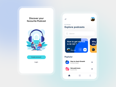 Podcast App || UI Deisgn music sound app podcast uxdesign ux uxui ui design uiux design dailyuichallenge uidesign dailyui ui