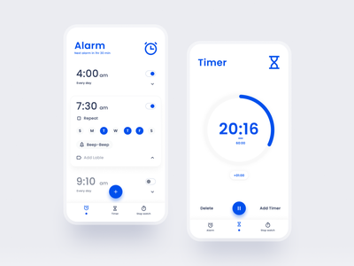 Alarm app || UI Design blue clock stopwatch timer alarmclock alarm ux music uxui ui design uiux design dailyuichallenge uidesign dailyui ui