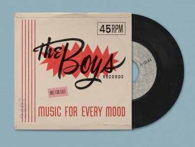 The Boys single record cover typography music vinyl record script lettering 45rpm record cover