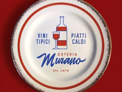 Osteria Murano decorative plate typography logo osteria script lettering restaurant branding branding