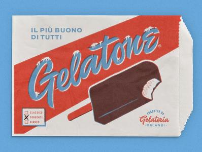 """Gelatone"" Ice Cream paper bag logo design script lettering product branding branding ice cream logo paper bag packaging"