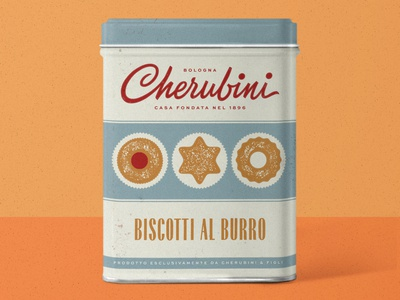 Cherubini biscuits tin box food packaging packaging biscuits product branding logo script lettering