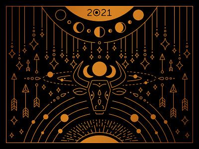 2021 bull line illustration monoline 2021 bull linework lineart line geometic gold artdeco illustration vector design