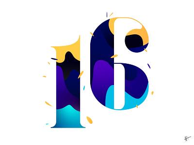 16 design waves number lettering typography sixteen 16 illustrator illustration