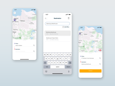 Search Location Delivery App destination search bar search results showcase application app mobile illustration digital minimalist ux shipment shipping delivery maps blue design ui location search