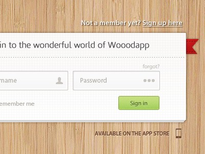 Wooodapp sign in page [free PSD]  psd freebie web web design app ui button texture