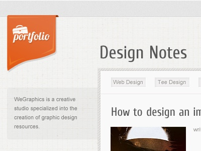 Design Notes web design ribbon clean orange patterns
