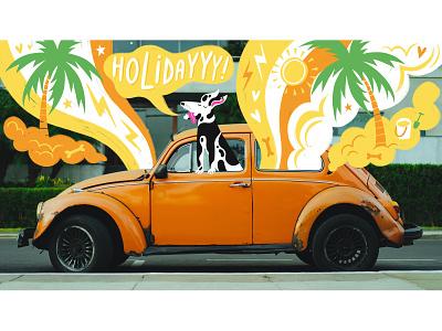 HOLIDAY typography type volkswagen beetle beetle unsplash car art handlettering drawn by hand photography doodling procreate illustration hand drawn design freelance illustrator