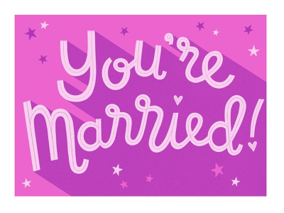 You're Married! greetings card wedding greetings card congratulations greetings card marriage wedding greetings card handlettering freelance illustrator drawn by hand procreate hand drawn illustration design