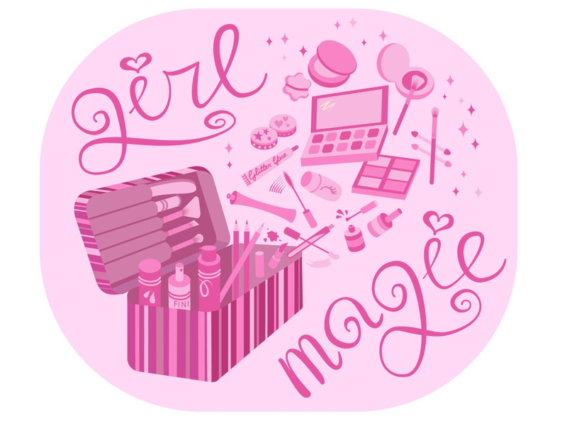 girl magic lovely makeup pink art vector illustration