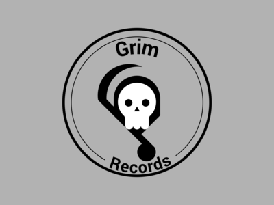 Grim Records flat illustration design vector art logo