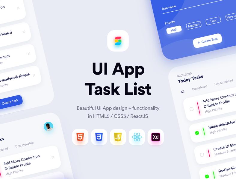 UI Template App - Task List (FREE) web designs ui8net ui8 ui template reactjs modern minimal javascript html template html5 html freebie free design css3 css code app