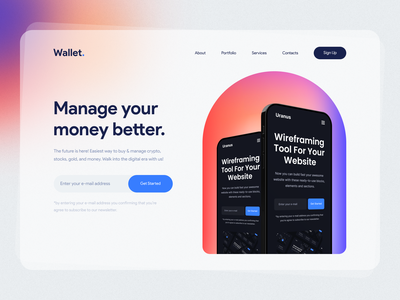 Wallet 🔥 Based on Uranus - Wireframe Kit free wireframe template ui8 ui design trends 2021 trends gradients gradient 2021 glass glass effect glassmorphism 3d
