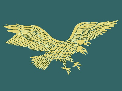 Two Heads Are Better Than One design art tattoo vintage green gold flight wings graphic eagle