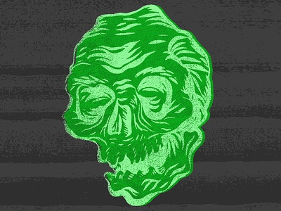 Frosty Skull Nugget adobedraw distress texture frosty green skull doodle
