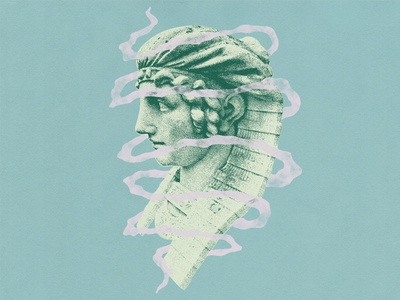 Frozen Contemplation at The Elms pink cerulean green blue halftone sphinx statue